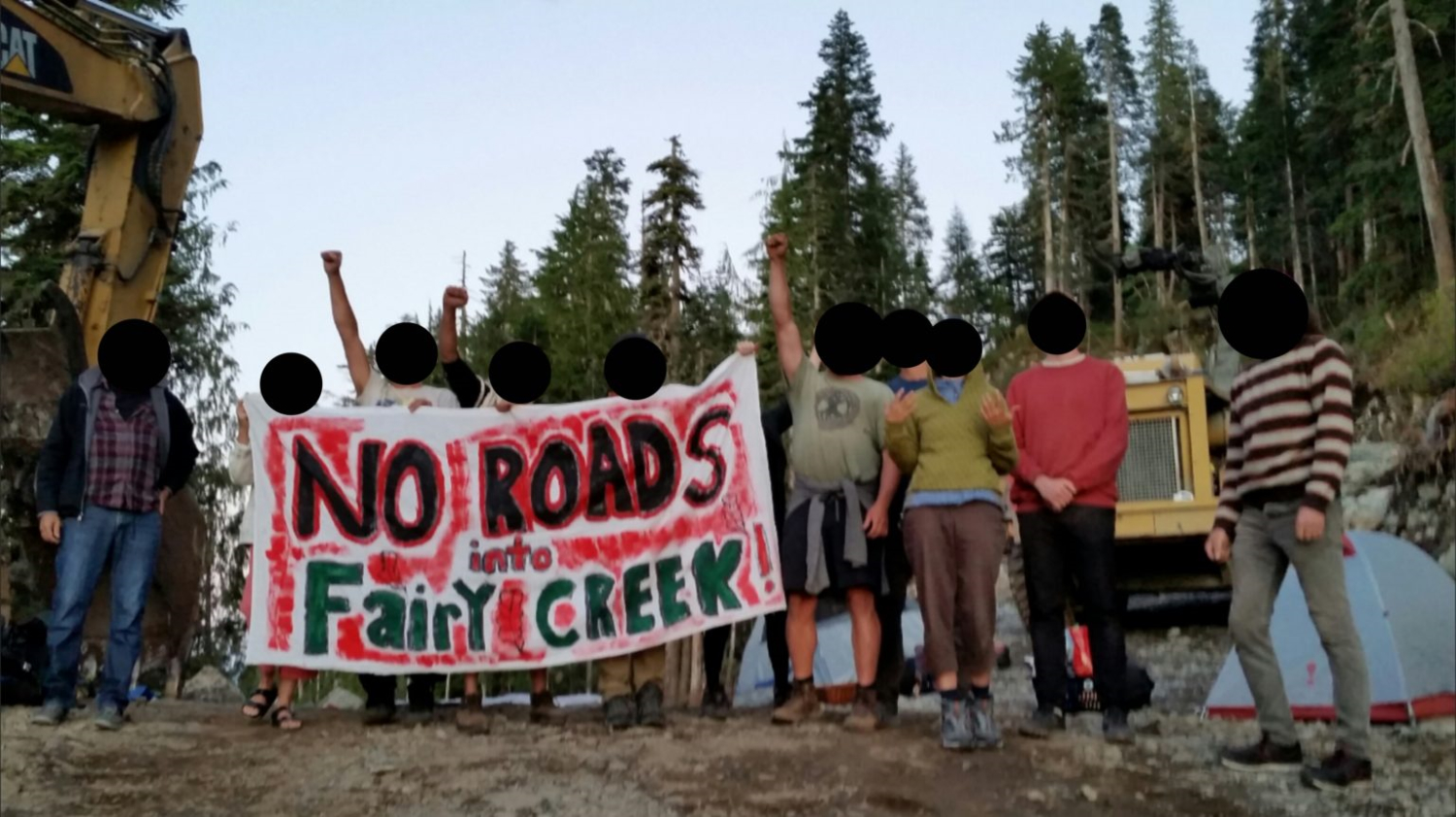 "Ten people stand in a row some with their fists raised. They hold a banner saying ""No roads into fairy creek"". Behind them can be seen heavy machinery and a small grey tent. Further back there are trees."
